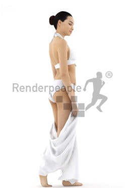 3d people beach, attractive 3d woman with towl