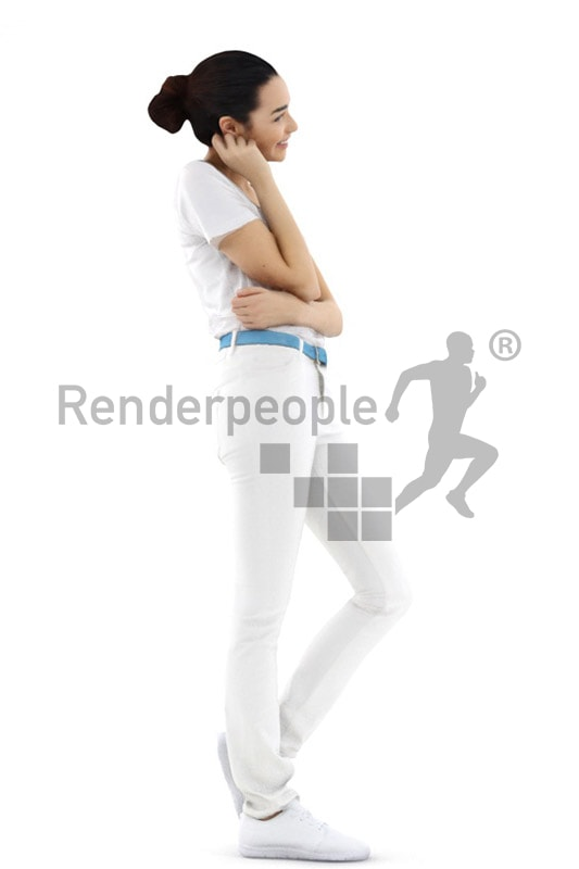 3d people service, attractive 3d woman smiling