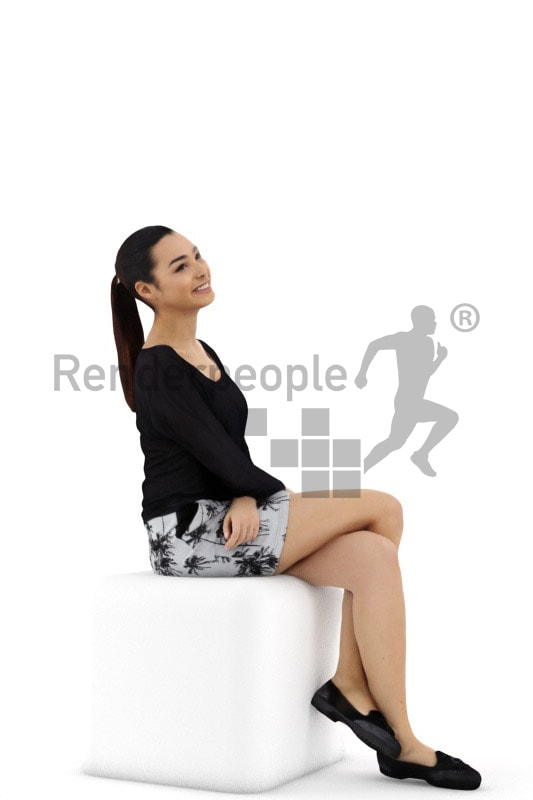 3d people casual, attractive 3d woman sitting and smiling