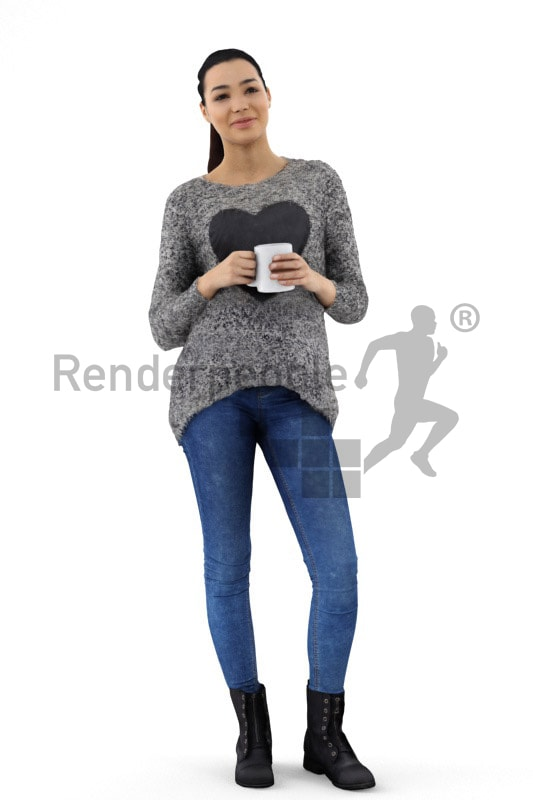 3d people casual, attractive 3d woman with a cup in her hands