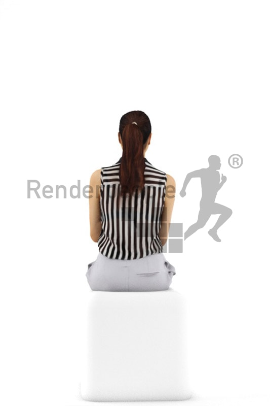 3d people business, attractive 3d woman sitting and typing