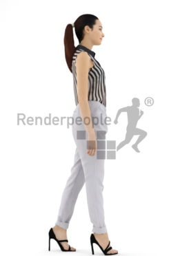 3d people business, attractive 3d woman walking