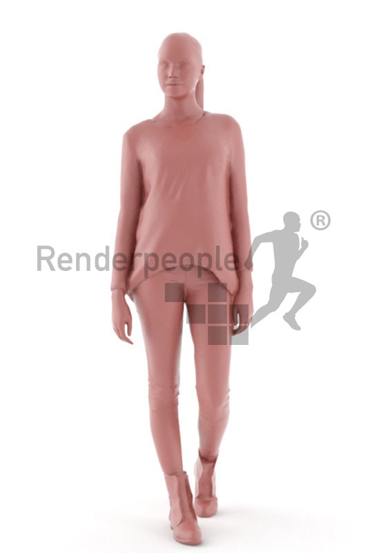 3d people casual, attractive 3d woman walking