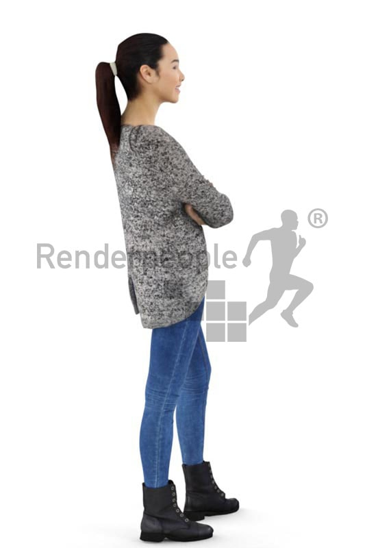 3d people casual, attractive 3d woman crossing her arms and smiling