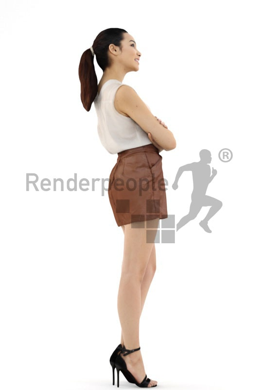 3d people event, attractive 3d woman smiling