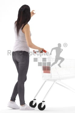 3D People model for 3ds Max and Blender – european woman in the supermarket, casual outfit, carrying a cart and taking something