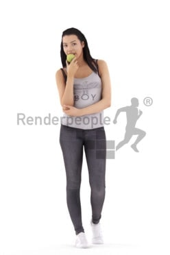 3d people casual, white 3d man walking and eating an apple