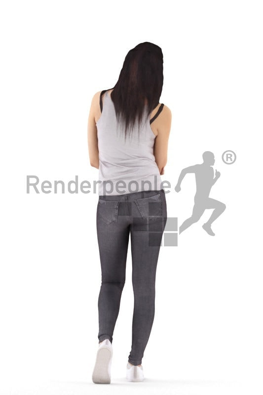 3d people casual, white 3d woman walking and eating an apple