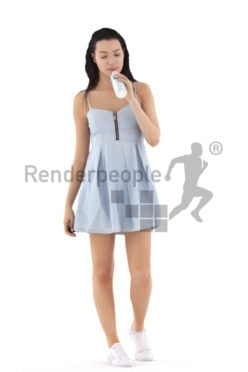 3d people casual, white 3d woman walking and drinking