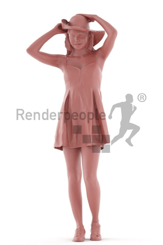 3d people casual, attractive 3d woman walking and wearing heat