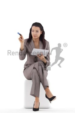 3d people business, attractive 3d woman sitting and pointing with a pen