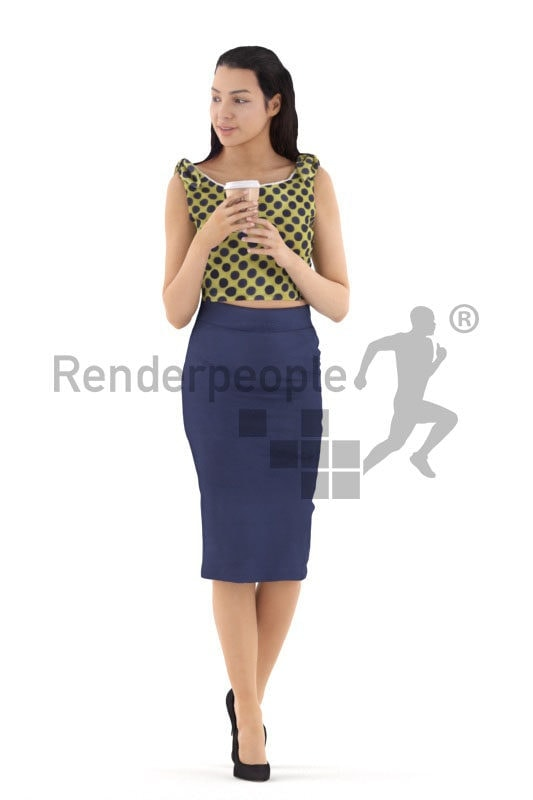 3d people casual, white 3d woman walking and hold coffeecup
