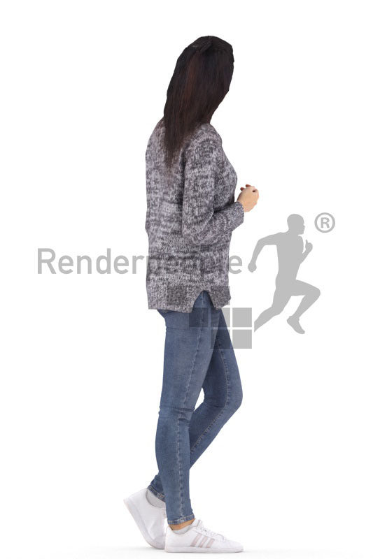 3d people casual, white 3d woman walking and talking