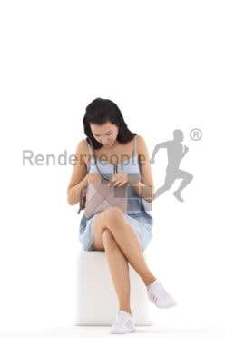 3d people casual, white 3d woman sitting and searching the bag