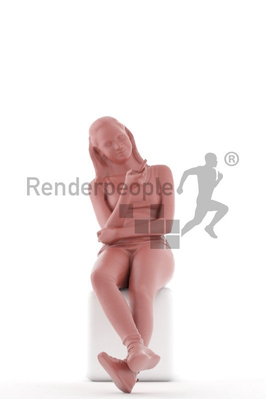 3d people casual, white 3d woman sitting and watching TV