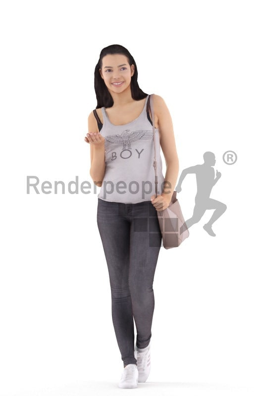 3d people business, white 3d woman standing and shopping