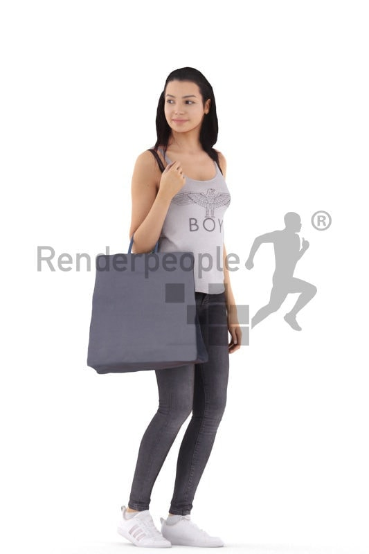 3d people casual, white 3d woman standing and shopping