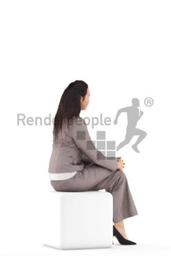 Posed 3D People model for visualization – european woman in business suit, sitting
