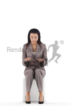 3d people business, white 3d woman sitting typing and wearing headset