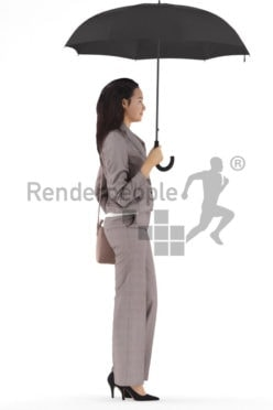 3d people business, white 3d woman walking and holding umbrella