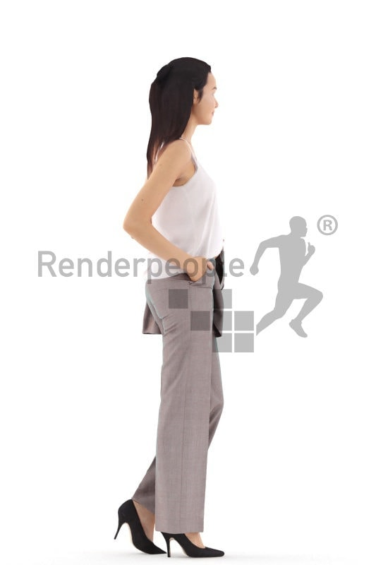 3d people business, white 3d woman standing and holding jacket