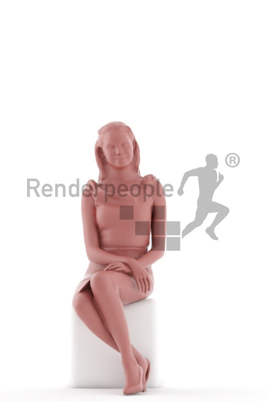 3d people business, white 3d woman sitting
