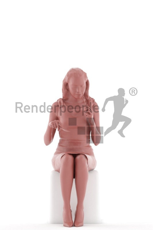 3d people business, white 3d woman sitting and eating
