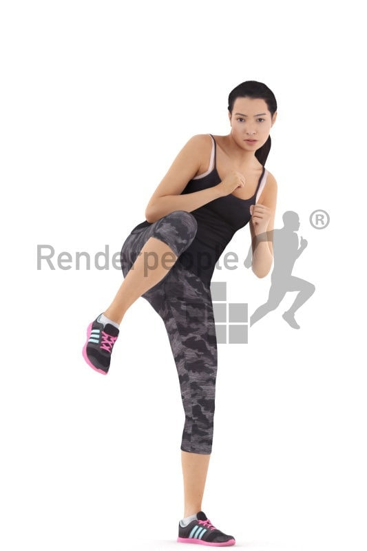 3d people sports, attractive 3d woman kicking