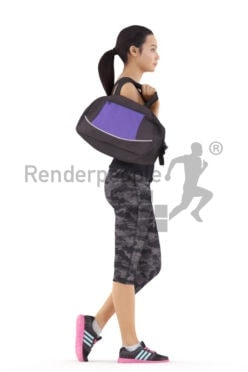 3d people sports, attractive 3d woman carrying sportsbag