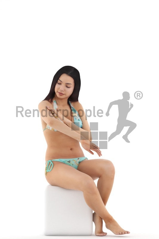 3d people swimwear, attractive 3d woman sitting and applying sunscreen