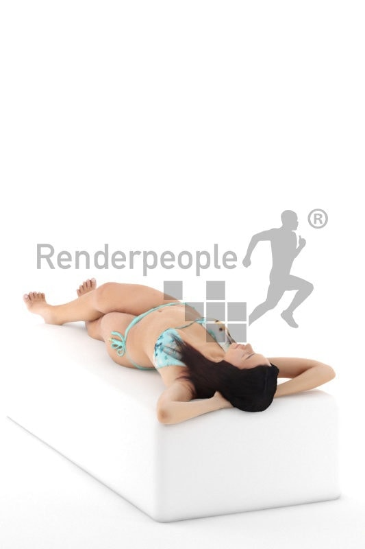 3d people swimwear, attractive 3d woman lying