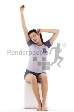 3d people sleepwear, attractive 3d woman sitting and yawning