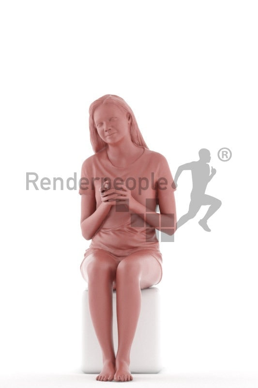 3d people sleepwear, attractive 3d woman sitting holding a cup of coffee