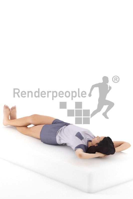 3d people sleepwear, attractive 3d woman lying
