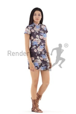3d people event, attractive 3d woman walking