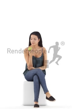 3d people casual, attractive 3d woman sitting and eating an apple