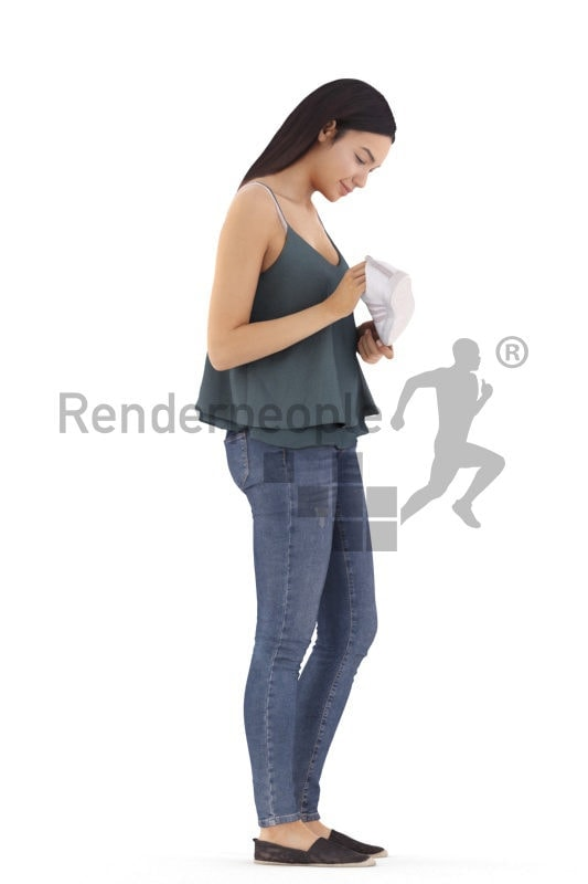 3d people casual, attractive 3d woman standing and shopping shoes