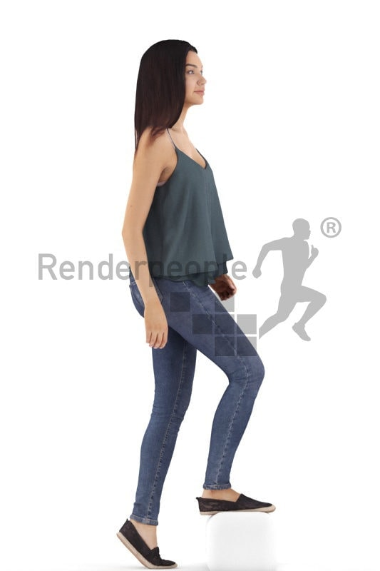 3d people casual, attractive 3d woman walking upstairs