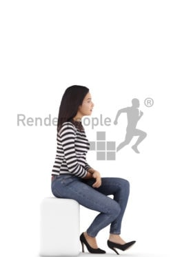 3d people casual, attractive 3d woman sitting