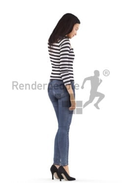 3d people casual, attractive 3d woman standing