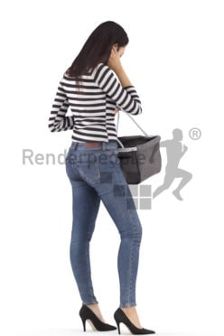 3d people casual, attractive 3d woman standing and shopping