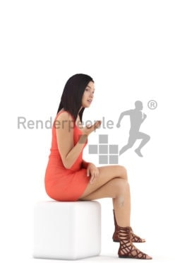 3d people event, attractive 3d woman sitting and talking