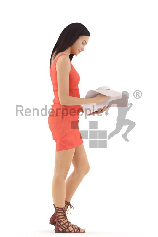 3d people event, attractive 3d woman standing