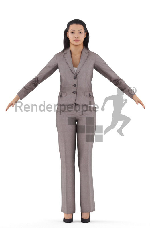 3d people business, hispanic/latino woman rigged