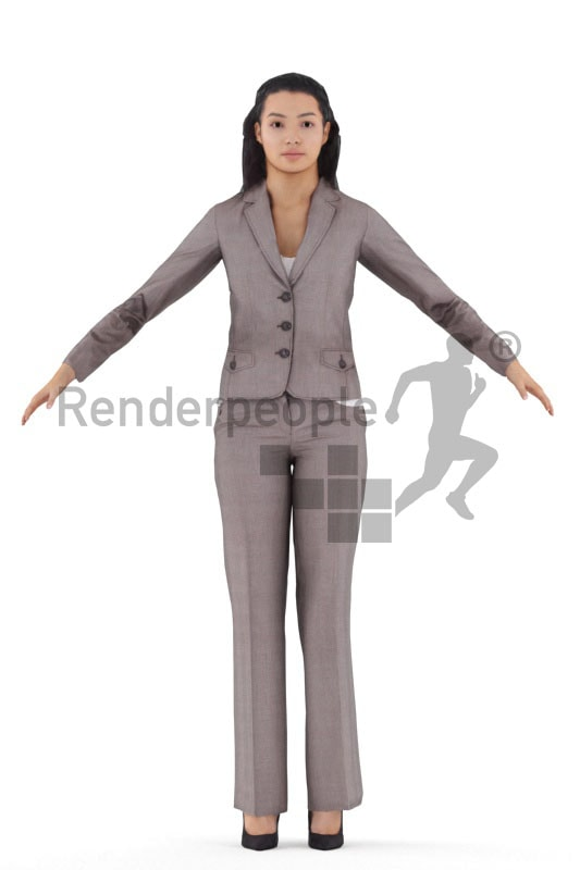 rigged 3d people, rigged 3d woman business, T pose