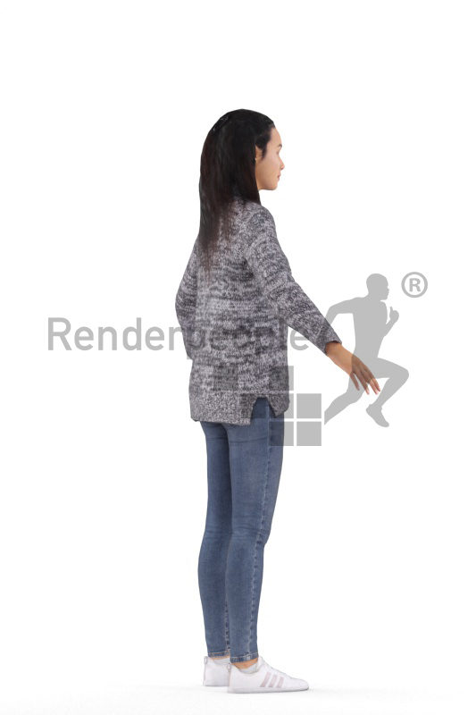 Rigged 3D People model for Maya and 3ds Max – black woman in a casual style