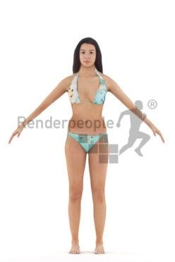 Rigged 3D People model for Maya and Cinema 4D – black female in swimm wear