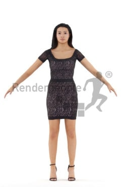 Rigged and retopologized 3D People model – black female in an event dress