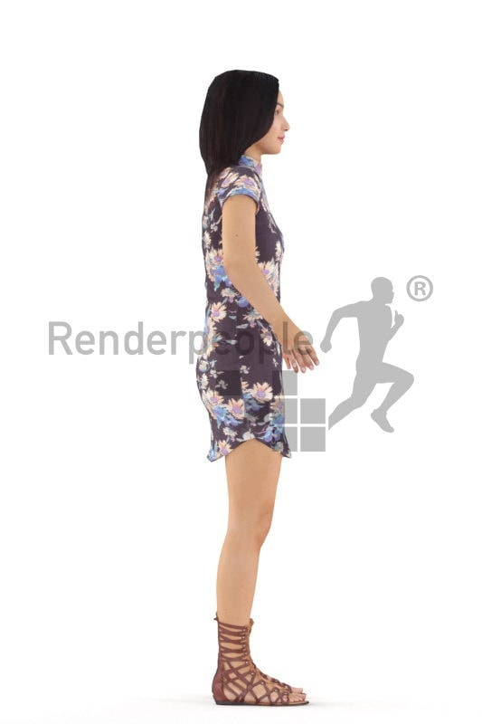 Rigged human 3D model by Renderpeople – hispanic female in a casual summer dress