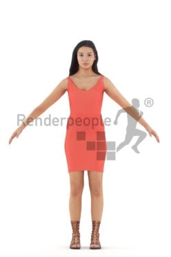 Rigged 3D People model for Maya and Cinema 4D – black woman in a dress